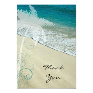 """El plano tropical de la playa le agradece tarjeta invitación 3.5"""" x 5"""""""