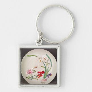 El plato de porcelana, famille subió la decoración llavero cuadrado plateado