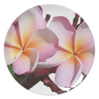 El Plumeria florece la placa de cena Platos Para Fiestas