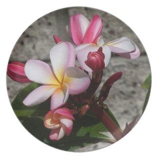 El Plumeria florece la placa Platos Para Fiestas