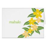 El Plumeria hawaiano le agradece tarjeta de nota