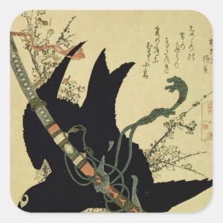 El poco cuervo con la espada del clan de Minamoto Pegatina Cuadrada