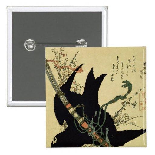 El poco cuervo con la espada del clan de Minamoto Pin Cuadrado
