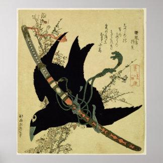 El poco cuervo con la espada del clan de Minamoto Póster
