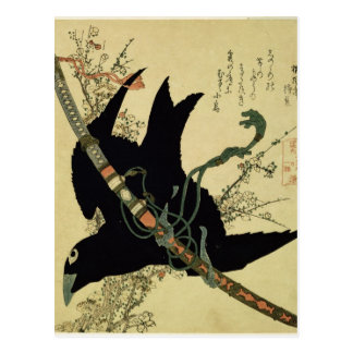 El poco cuervo con la espada del clan de Minamoto Tarjeta Postal
