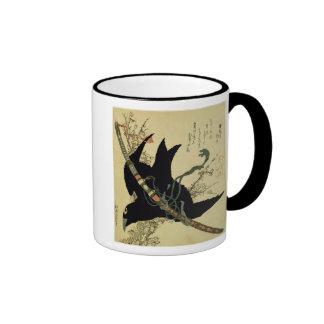 El poco cuervo con la espada del clan de Minamoto Taza A Dos Colores