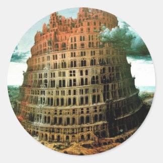 """El """"poco"""" de Pieter Bruegel torre de Babel Etiquetas Redondas"""