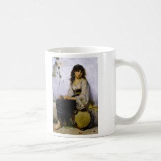 El poco ~ del chica de la pandereta taza básica blanca