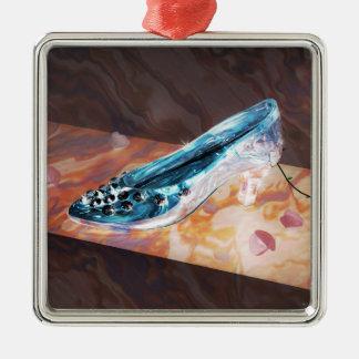 El poco deslizador de cristal adorno navideño cuadrado de metal