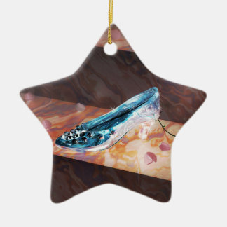 El poco deslizador de cristal adorno navideño de cerámica en forma de estrella