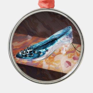 El poco deslizador de cristal adorno navideño redondo de metal