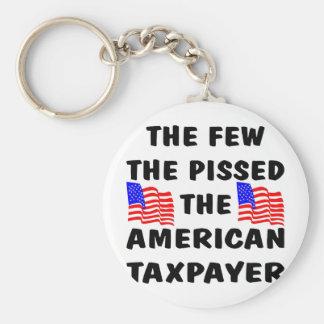 El pocos Pissed el contribuyente americano Llavero Redondo Tipo Pin