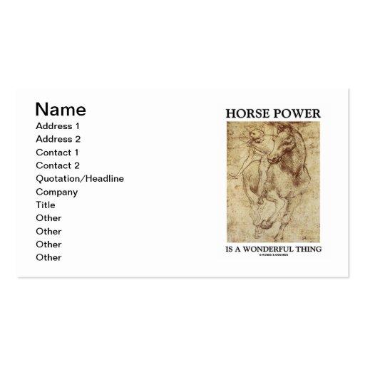 El poder de caballo es una cosa maravillosa (el ca tarjeta de visita