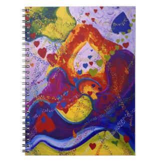 El poder del amor, subterráneo, corazones, abstrac libro de apuntes con espiral
