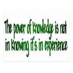 El poder del conocimiento tarjeta postal
