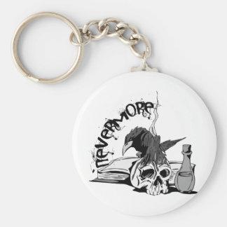 El Poe Raven nunca más el cráneo y el libro Llavero Redondo Tipo Pin