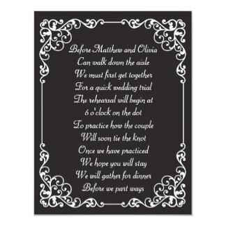El poema adornado de la cena del ensayo del invitacion personalizada