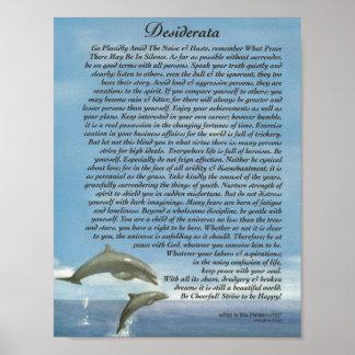 El poema de los desiderátums con jugar delfínes póster