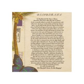 El poema de los desiderátums con la palmera y la cuadro de madera