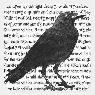 El poema del cuervo pegatina cuadrada
