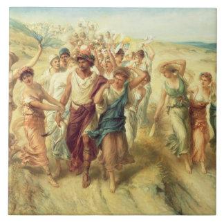 El poeta Anacreon 570-485 A C con sus musas 18 Azulejos Ceramicos