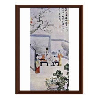 ¿El poeta y dos cortesanas, por el ¼ Œ de T'Ang Yi Postales