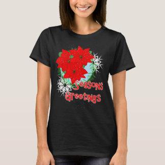 El Poinsettia rojo de las flores del navidad Playera