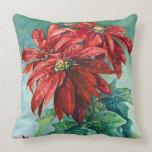 El Poinsettia rojo florece el vintage Cojín Decorativo