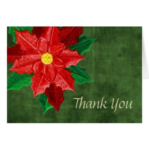 El Poinsettia rojo le agradece cardar Tarjeta De Felicitación