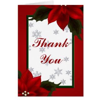 El Poinsettia y el copo de nieve le agradecen Tarjeta Pequeña