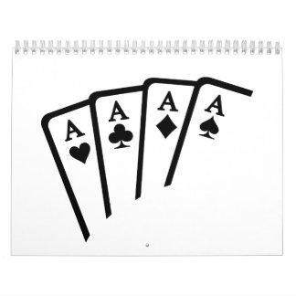 El póker carda as calendario
