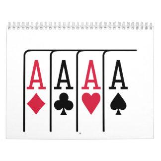 El póker carda as calendarios de pared