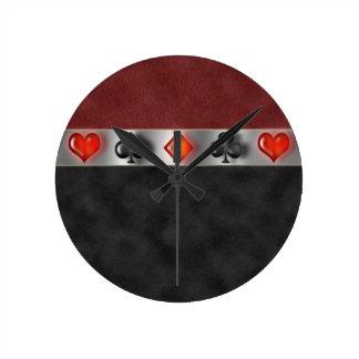 El póker carda el ante rojo negro de Digitaces de Reloj Redondo Mediano