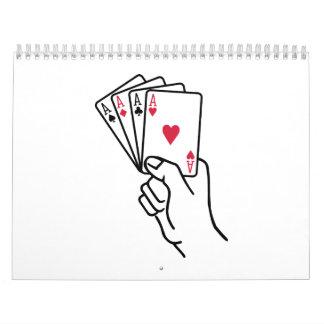 El póker carda la mano de los as calendarios de pared