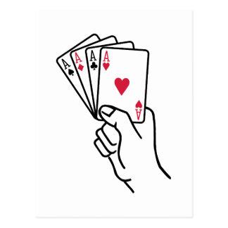 El póker carda la mano de los as tarjetas postales