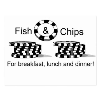 El póker de los pescado frito con patatas fritas postales