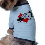 El póker firma tarjetas camiseta de perro