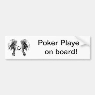 ¡El póker se va volando gris blanco negro con el m Pegatina De Parachoque