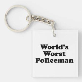 El policía peor del mundo llavero cuadrado acrílico a una cara