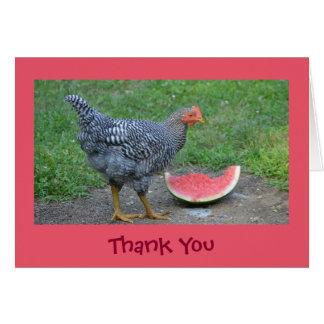 El pollo alegre le agradece cardar tarjeta de felicitación