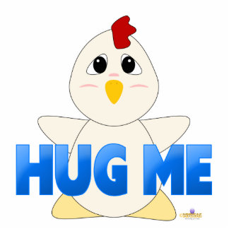 El pollo blanco Huggable azul me abraza Escultura Fotografica