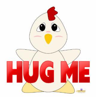 El pollo blanco Huggable rojo me abraza Escultura Fotográfica