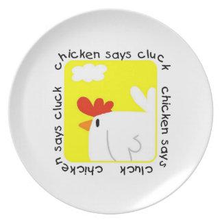 El pollo dice cloqueo platos de comidas