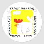 El pollo dice las camisetas y los regalos del etiqueta redonda