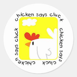 El pollo dice las camisetas y los regalos del pegatina redonda