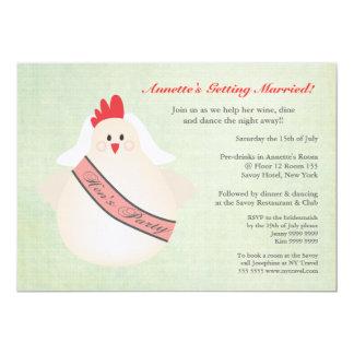 El pollo divertido del fiesta de gallina ilustrado invitaciones personalizada