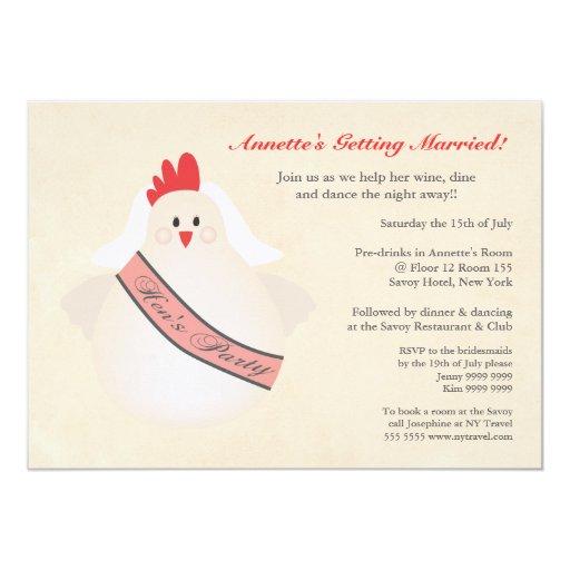 El pollo divertido del fiesta de gallina ilustrado invitacion personalizada