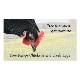 El pollo libre de la gama eggs la tarjeta de tarjetas de visita