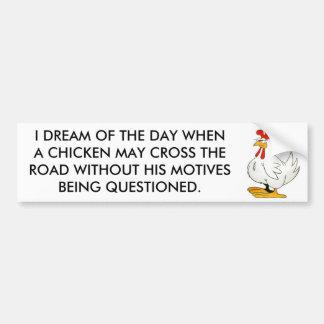 El pollo puede cruzar sin los motivos preguntados pegatina de parachoque