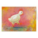 El pollo que camina necesita la soledad - arte ori tarjeton